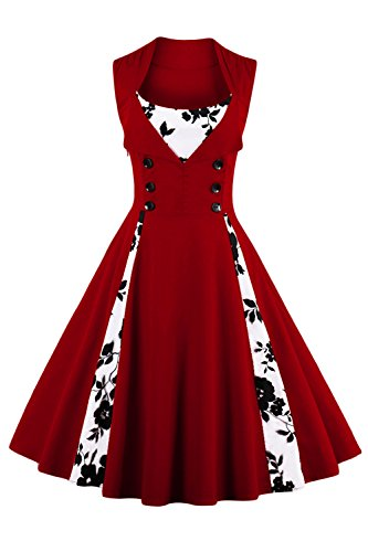 50s Styles (Jiuzhoudeal Women's 1950s Vintage Sleeveless Retro Swing Party Classy Dress (XX-Large, Wine Red-Floral))