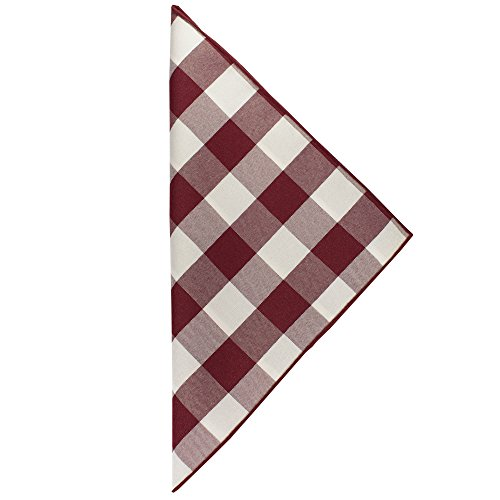 Ultimate Textile -10 Dozen- 10 x 10-Inch Polyester Checkered Cloth Cocktail Napkins, Burgundy and White by Ultimate Textile