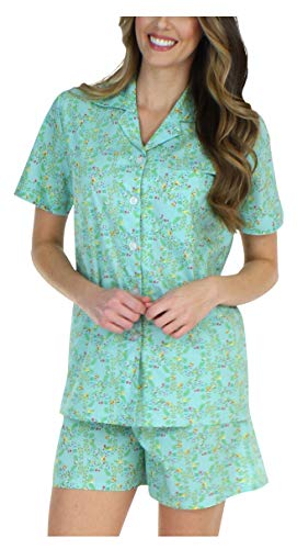 Sleepyheads Women's Sleepwear Cotton Short Sleeve Button-Up Top and Shorts Pajama Set (SHCP1710-4015-LRG) Button Up Woven Shorts