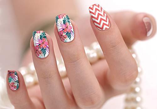 Nail Polish Art Strips 18 Wraps Decal DIY Manicure Pedicure Flower Design Pattern Wedding Bachelorette Prom Party ()