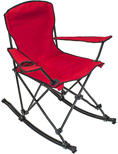 Sorbus Quad Rocking Chair with Cup Holder Cooler, Foldable Frame, Portable Carry Bag, Recliner Chair Great Outdoor Chair for Camping, Sporting Events, Travel, Backyard, Patio (Rocking Chair - Red) (Best Places Camp Oregon Coast)