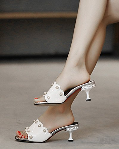 Toe Heels Aisun Women's White Open Beads Daily Sandals Kitten Mules CwFttAqXx