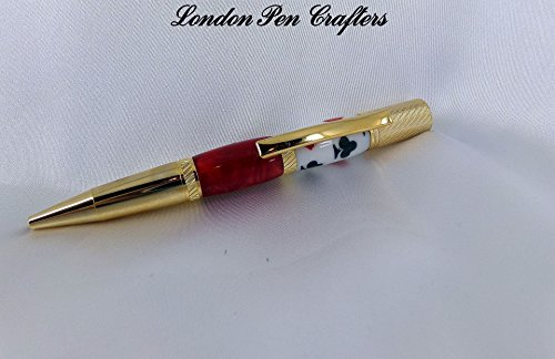 Hand Crafted PLUMA Twist Pen Ballpoint Pen w/24k Gold Hardware and Card Suit Barrel