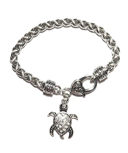 FTH Sea Turtle Clear Crystal Silver Plated Fashion Jewelry (Bracelet)