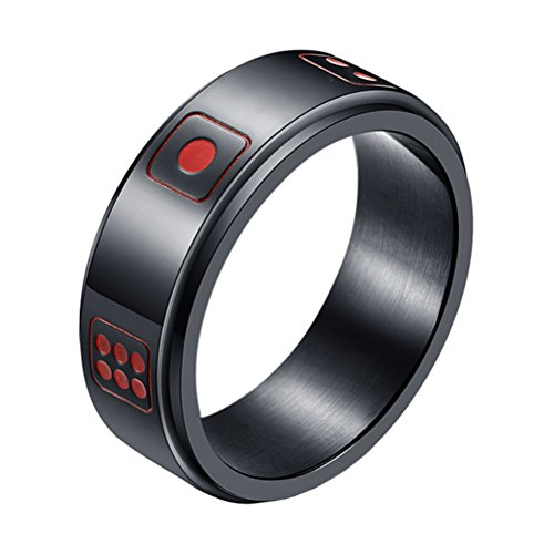 INRENG Men's Stainless Steel Lucky Spinner Ring Retro Dice Pattern Wedding Bands 8mm Black Size 11