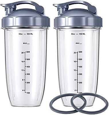 NutriBullet Magic Juicer - Vasos para licuadora con tapa abatible (32 onzas, 2 unidades), repuesto para batidora NutriBullet 600 W y Pro 900 W: Amazon.es: Hogar