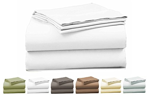 EL&ES Bedding Collections Bed sheets 400 Thread Count, 100% Cotton Twin Sheet Set, Feather Touch Collection, 4-Piece Bedding Set, Elastic Deep Pocket Fitted Sheet, White