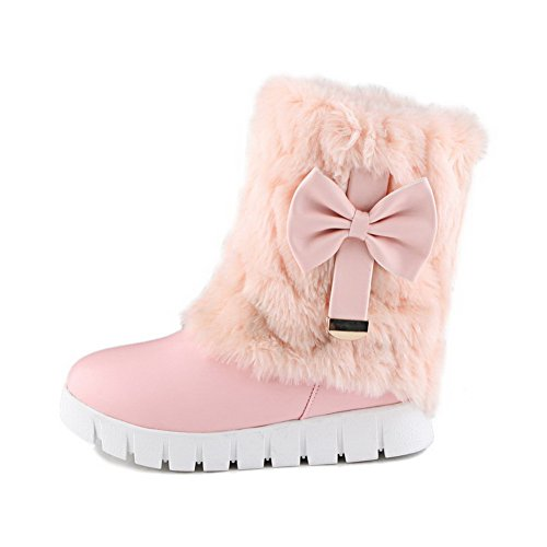 VogueZone009 Damen PU Niedriger Absatz Rund Zehe Ziehen auf Stiefel, Pink, 37