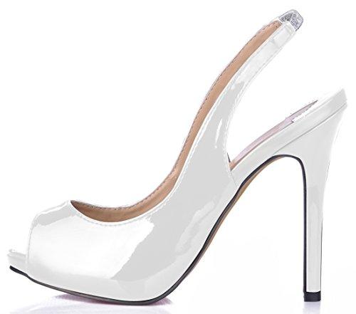 CHMILE Plataforma 1cm Tiras Punta de Parte Chau Bombas Fiesta Sexy Blanco La Tacon de Abierta para Vestido Zapatos Trasera de Mujer Alto Aguja RRqna1wrx