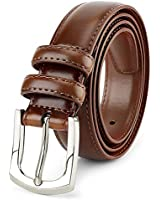 Men's Genuine Leather Dress Belt Classic Stitched Design 30mm 'ALL LEATHER' Burnt Umber (Tan 2 Tone) Size 58