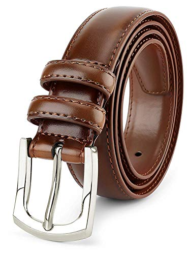 Men's Genuine Leather Dress Belt Classic Stitched Design 30mm 'ALL LEATHER' Burnt Umber (Tan 2 Tone) Size 42