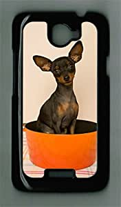 Dog Sitting in Saucepan HTC ONE X Black Sides Hard Shell PC Case by Cristinay