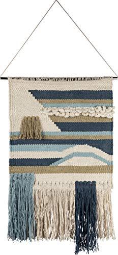 - Primitives by Kathy Seaside Woven Wall Hanging, Handmade Bohemian Fringe Tassel Banner, Cotton, 14