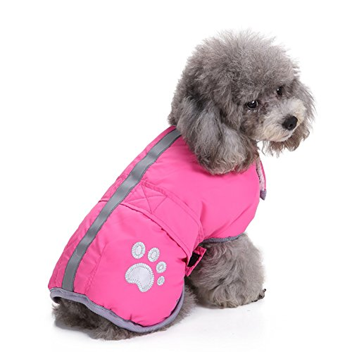 Reversible Fleece Dog Jacket (Reflective Dog Winter Coat Cold Weather Dog Vest Cozy Waterproof Windproof Warm Fleece Pet Clothes for Small Medium Large Dogs (Pink, L))