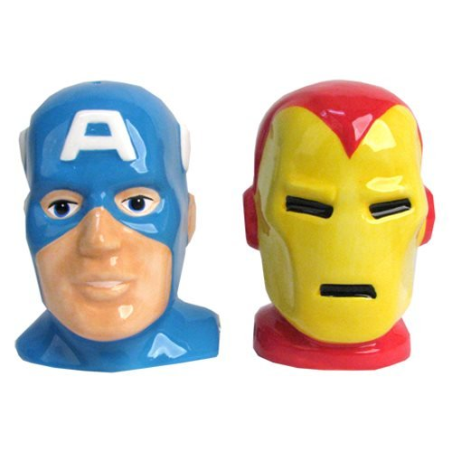 Captain America and Iron Man Heads Salt and Pepper (Salt And Pepper Shakers Costumes)