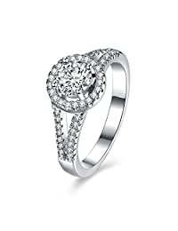 BALANSOHO 925 Sterling Silver Halo Wedding Bands Halo Engagement Rings for Women Size 8