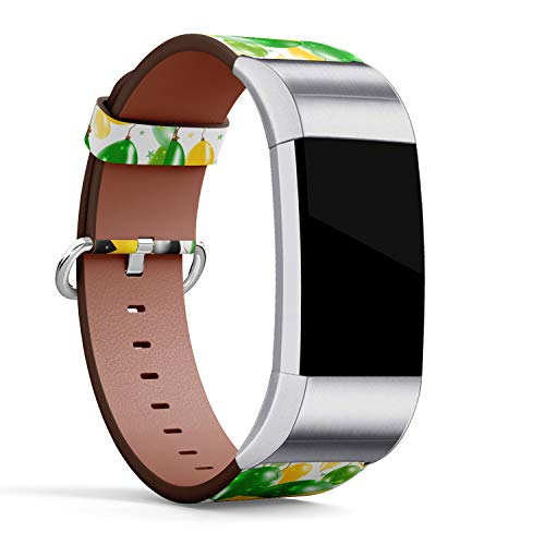 - R-TECH Leather Replacement Strap Compatible with Fitbit Charge 2 - Flying Rubber Balloons in Colors of The Jamaican Flag.