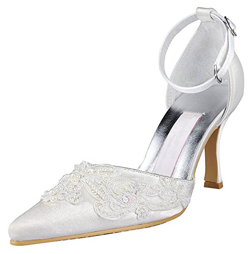 Minitoo MZ581 Women's High Heel Beaded Satin Bridal Wedding Evening Party Prom Shoes Style2-White-7.5cm Heel FBkzT