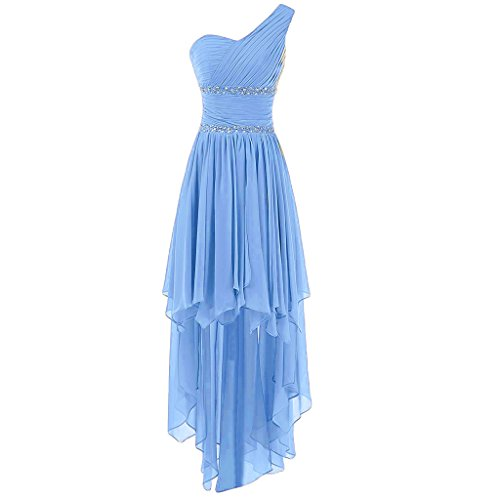 Buy blue beaded one shoulder dress - 1