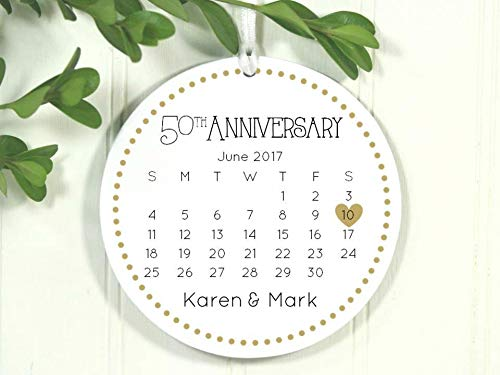 hanjear59 Anniversary Ornament 50th Anniversary 50 Year Anniversary Fifty Anniversary Christmas Ornament 2018 Xmas 2018 Calendar