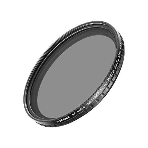 Neewer 52MM ND2-400 ND Filter Fader Variable ND2 to ND400 Neutral Density Filter for Nikon Canon Sony Panasonic Olympus DSLR Cameras with 52mm Thread Such as Nikon D5300 D5200 D5100 D3300 D3200 D3100