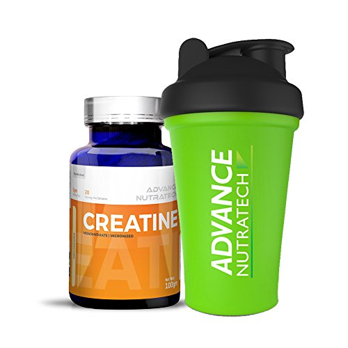 Creatine Monohydrate unflavored 100 gm with Shaker by ADVANCE NUTRATECH