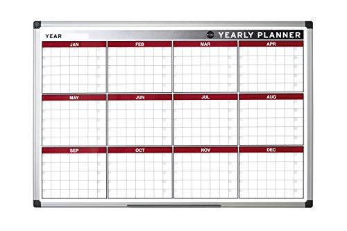 Bi-Office Annual Planner, Magnetic, Aluminium Frame, 90 x 60 cm