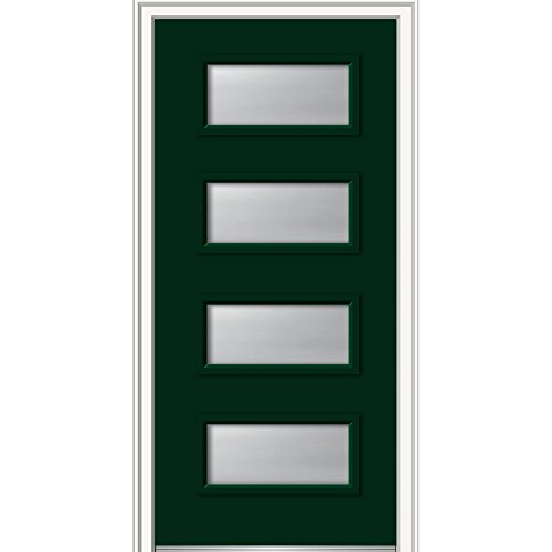 National Door Z0349678R In-Swing Exterior Prehung Door, Frosted Glass, Right Handed, 4-Lite, Smooth, Fiberglass, 36'', 80'' Height, Hunter Green by National Door Company