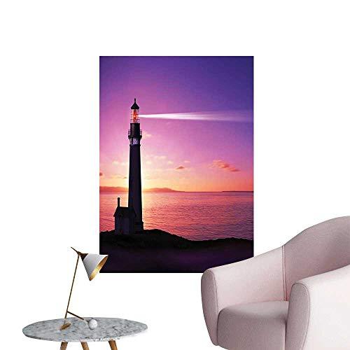 - Wall Decoration Wall Stickers Lighthouse Searchlight Beam Through Mar e at Night Light Tower Gu Print Artwork,12