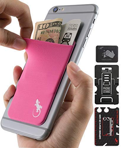 Phone Wallet - Adhesive Card Holder - Cell Phone Pouch - Stick on Lycra Pocket by Gecko - Carry Credit Cards and Cash - RFID Protection Sleeve – Pink