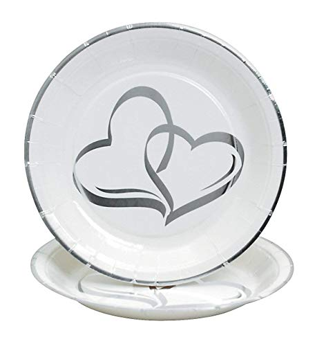 (Two Hearts Paper Dessert Plates (25 pcs. per set) 7