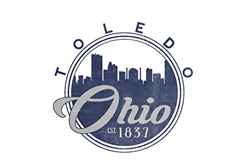Toledo, Ohio - Skyline Seal Blue Giclee Gallery Print, Wall Decor Travel Poster