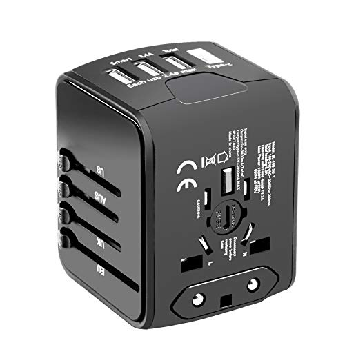 Universal Travel Adapter, Hufuear International Power Adapter with 1 Type C and 3 USB Ports European Adapter for EU, UK, AU,Italy 160+ Countries, All in One Travel Plug Adapter for iPhone, Android
