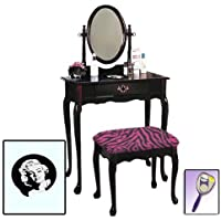 New Marilyn Monroe Themed Cherry Finish Make Up Vanity Set with Adjustable Mirror and Bench with your choice of seat cushion theme! Also includes free hand & purse mirror!