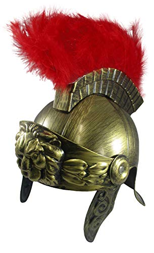 Roman Costume Helmet with Red Feather Plume, Gold, One Size -
