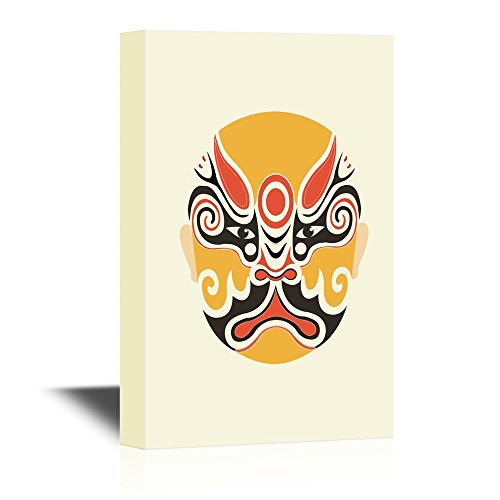 wall26 - Chinese Culture Canvas Wall Art - Peking Opera Mask - Gallery Wrap Modern Home Decor | Ready to Hang - 32x48 inches -