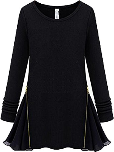 larga para redondo liso negro Top con botones mujer cuello manga de Ads vxtWqBf