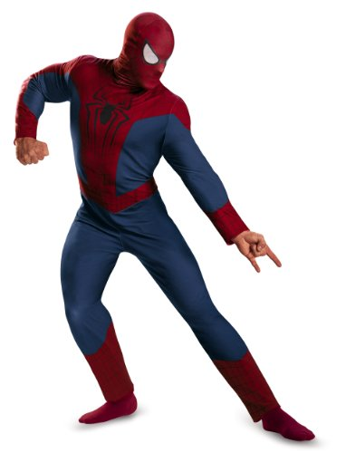 Spiderman Costumes Movie (Disguise Men's Marvel The Amazing Movie 2 Spider-Man Classic Costume, Blue/Red/Black, X-Large/42-46)