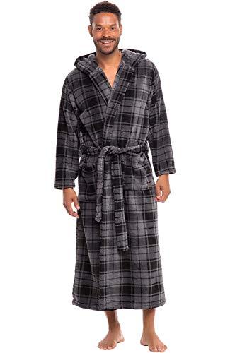 Alexander Del Rossa Men's Warm Fleece Robe with Hood, Big and Tall Bathrobe, 3XL 4XL Grey Plaid (A0125R404X)]()