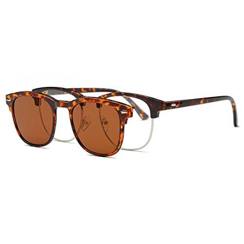 AEVOGUE Magnetic Clip-on Polarized Sunglasses Mens Plastic Titanium (TR90) Frame Unisex Prescription Glasses AE0510 (Tortoise, - Clip On Sunglasses Magnetic