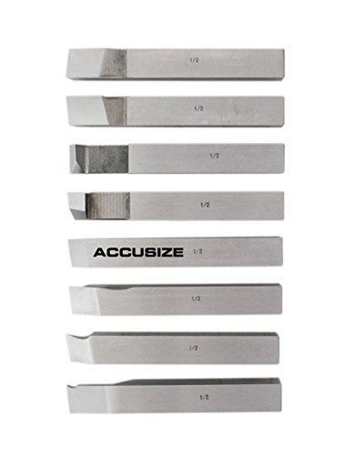 AccusizeTools - 1/2 inch 8 pcs H.S.S. Tool Bit Set, Pre-Ground for Turning & Facing Work, for Aluminum.Steel, Brass, Plastic & Wood, 2662-2004 by Accusize Industrial Tools (Image #1)