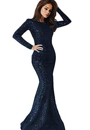 d24e6b4df8298 2019 Long Sleeves Sequins Mermaid Prom Dresses Crew Neck Sweep Train ...