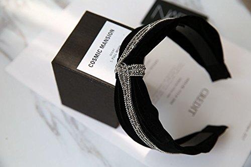 usongs New hair accessories black velvet winter luxury diamond hoop headband width toothed buckle head hoop by usongs (Image #3)