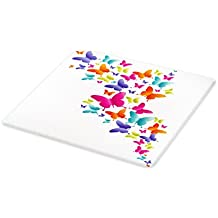 Lunarable Rainbow Cutting Board, Nature Inspired Butterflies in Various Sizes Rainbow Colors Natural Vibes Good Mood, Decorative Tempered Glass Cutting and Serving Board, Small Size, Multicolor