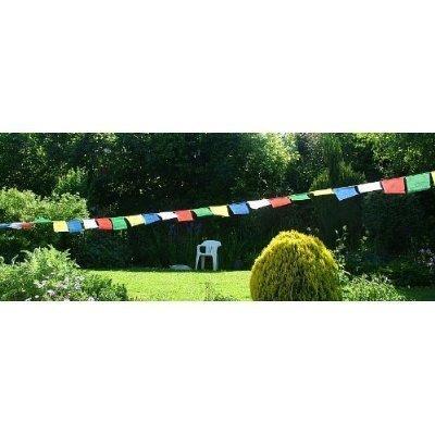 Buycrafty OM Mani Padme Hum bouddhiste tib/étain drapeaux de pri/ère suspendre en V/élo ou voiture spirituel Symbolisent les mantras Ling Cordes 121,9/cm