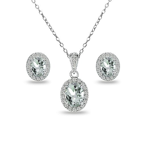 Sterling Silver Aquamarine and White Topaz Oval Halo Necklace and Stud Earrings Set