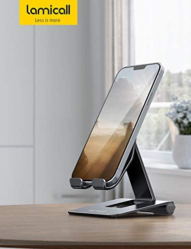 Lamicall Adjustable Cell Phone Stand for Desk - Foldable Aluminum Desktop Phone Holder Cradle Dock, Compatible with Phone 12 Mini 11 Pro Xs Xs Max Xr X 8 7 6 6s Plus Smartphones, Tablets (4-11'')