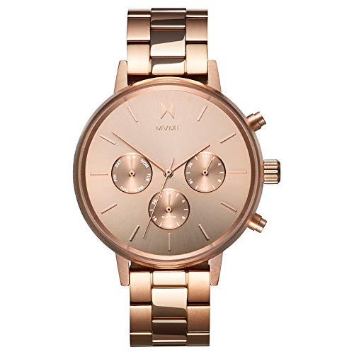 MVMT NOVA Watches | 38MM Women's Analog Watch Chronograph | Stainless Steel Link | Rose Gold ()