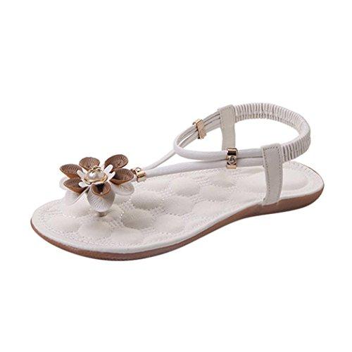 Voberry Sandalen, Sommer-Damen-Frauen-Sandelholz-Flache Römische Blumen-Sandelholz-beiläufige Schuhe Weiß