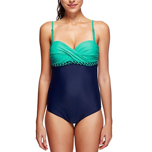 Laixing Women's Deep-V Plus Size Built-in Traje de baño Beachwear Swimwear LS098 Multi